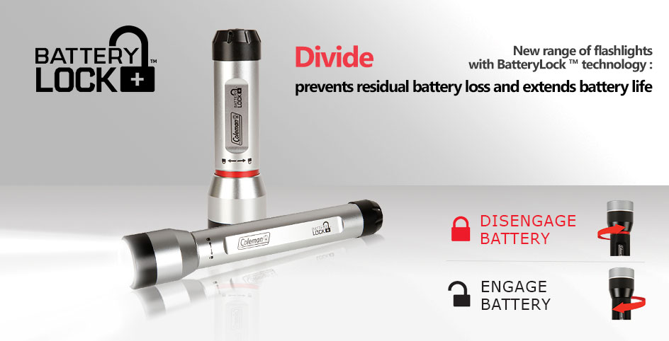 Divide Batterylock Silver LED flashlights